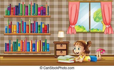 venster, boekjes , lezende , meisje