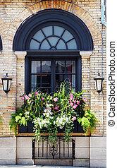 venster, buildind, oud, bloemen