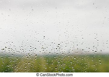 venster, druppels, regen, ruit