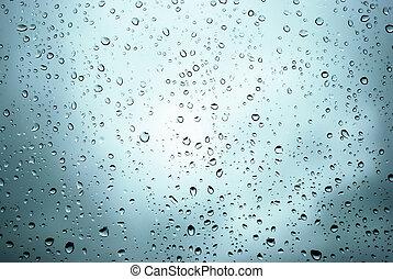 venster, druppels, regen