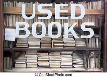 venster, gebruikt, boekjes , boekhandel, meldingsbord