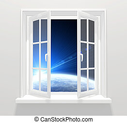venster, in, anderen, melkweg
