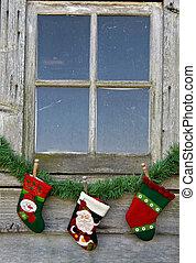 venster, kerstmis