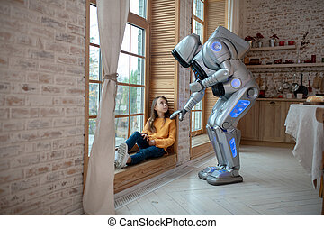 venster, klesten, meisje, zittende , robot