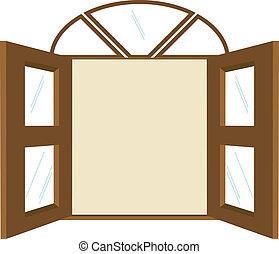 venster, kopie, spandoek, ruimte