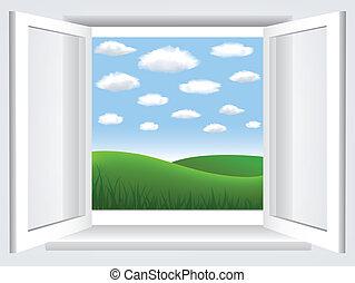 venster, met, blauwe hemel, wolken, en, groene, hiil