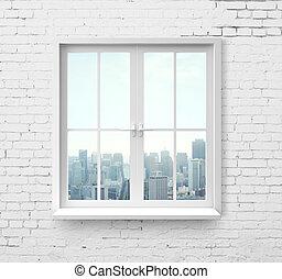 venster, met, wolkenkrabber, aanzicht