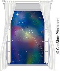 venster, open, illustratie ruimte