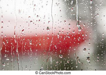 venster, regen, ruit
