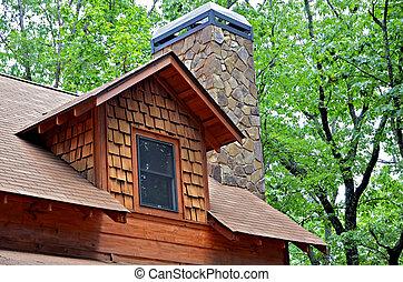 venster, schoorsteen, dakvenster