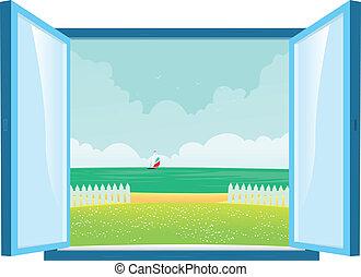 venster, strand, aanzicht