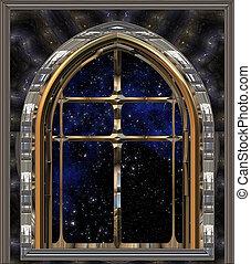 venster, uit kijkend, om te, ruimte, of, avond lucht