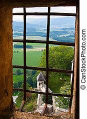 venster, vallei, aanzicht