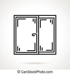 venster, vector, black , lijn, pictogram