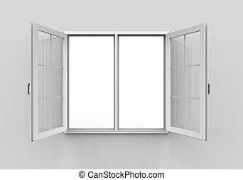 venster, witte achtergrond, geopend