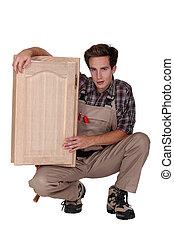 vensterraam, vasthouden, houtbewerker