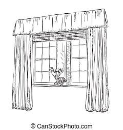 vensters, getrokken, hand, sketch., gordijnen