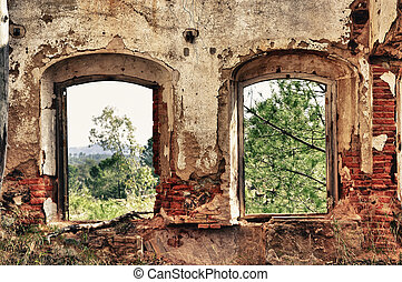 vensters, oud, twee