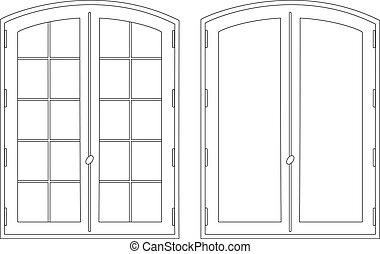 vensters, tekening, twee