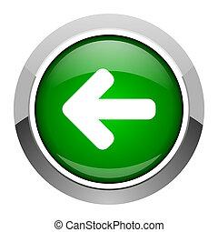 venstre, ikon, pil