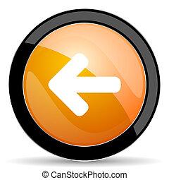 venstre, tegn, appelsin, ikon, pil