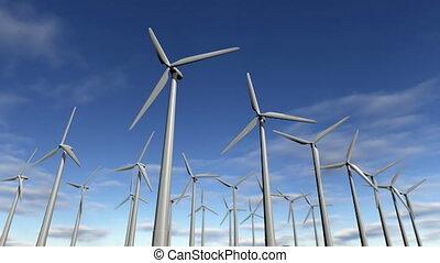 vent, animé, 4k, turbines, loop-able, windfarm.
