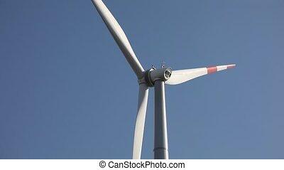 vent, bleu, turbine, contre, ciel clair