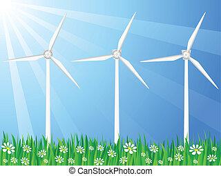 vent, champ, herbeux, générateur