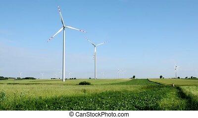 vent, champ, turbines