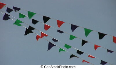 vent, drapeaux, s'agiter, coloré