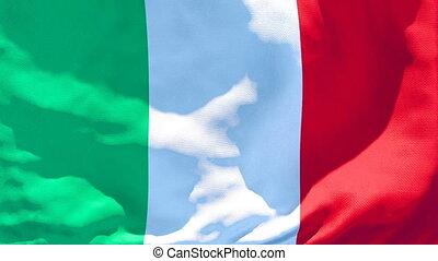 vent, national, italie, voler, drapeau