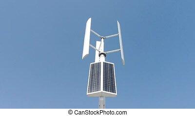 vent, nouveau, turbine, energy., solaire