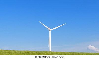vent, nuages, turbine, champ vert