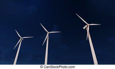 vent, nuit, turbines