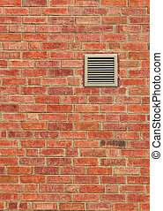 Vent on Old Brown Brick Wall, Vertical Pattern