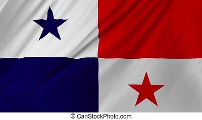 vent, onduler, panama, 2, doucement, drapeau, 1