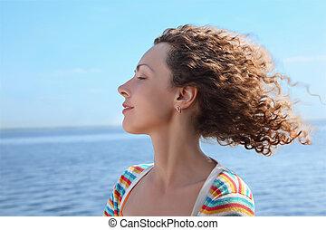 vent, profil, figure, marin, femme, coups