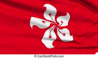vent, réaliste, drapeau, hong kong