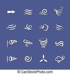 vent, temps, nature, icônes, climat, frais