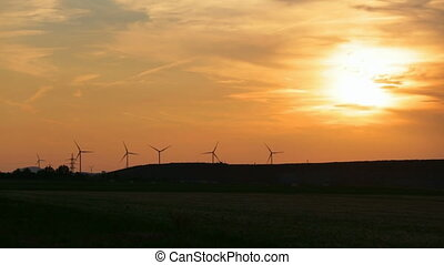 vent, timelapse, turbines, coucher soleil