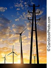 vent, tour, élevé, turbine, tension