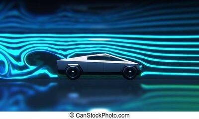 vent, vue, essai, côté, voiture, tunnel, concept, ...