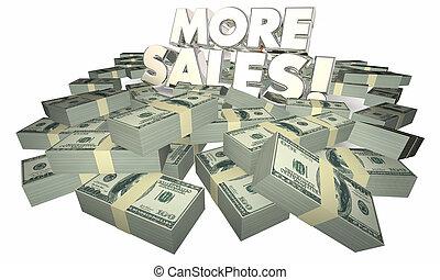 venta, éxito, dinero, ventas, ilustración, palabras, más, 3d