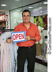 venta al por menor, business:, tienda, dueño, con, señal abierta