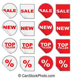 venta al por menor, conjunto, etiquetas
