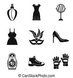 venta al por menor, espacio, iconos, conjunto, simple, estilo