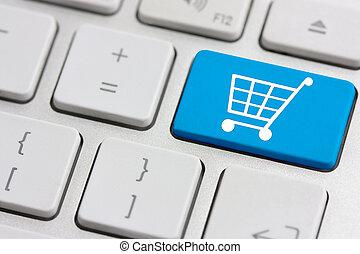 venta al por menor, o, carro de compras, icono