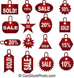 venta al por menor, valorar, etiqueta, conjunto