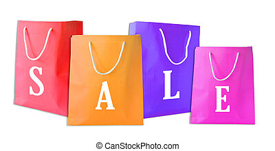 venta, bolsas de compras, aislado