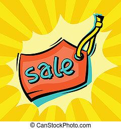 venta, caricatura, discurso, plano de fondo, cómico, burbuja...